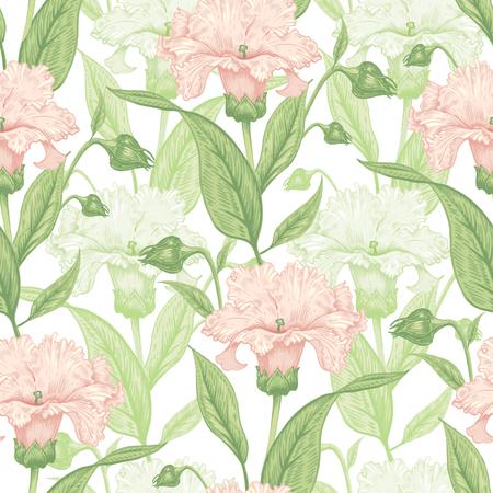 Vintage Floral seamless background avec des fleurs en fleurs. Vector floral illustration.