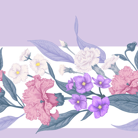 Vintage Floral seamless background with blooming dahlias and violets. Vector floral illustration.