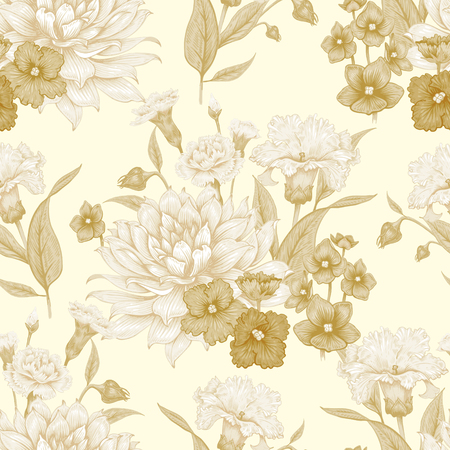 pinks: Vintage Floral seamless background with blooming dahlias and violets. Vector floral illustration.