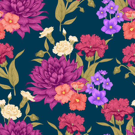 Vintage Floral seamless background with blooming dahlias and violets. Vector floral illustration on black background.