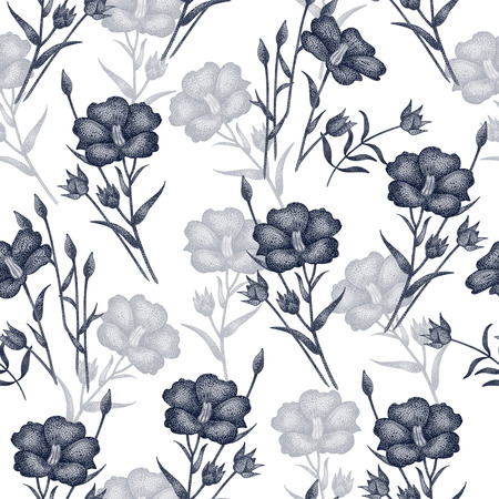 Vintage vector pattern with flowers linen in black and white. Graphic handmade textiles, fabrics, paper, curtains, curtains, wallpaper, vintage style.