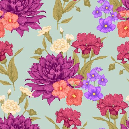 피 달리아와 제비 꽃과 빈티지 꽃 원활한 배경입니다. 벡터 꽃 그림입니다. 일러스트