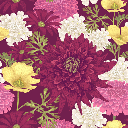 花 eschscholzia、デイジー、ダリアとシームレスなパターンをベクトル。ビンテージ風の花のイラスト。