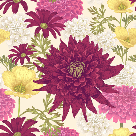 Vector seamless pattern with flowers eschscholzia, daisy, dahlia on a white background. Floral illustration in vintage style. Reklamní fotografie - 55306108