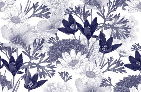야생 꽃과 빈티지 꽃 원활한 패턴입니다. 흰색 배경에 벡터 일러스트 레이 션. 장식 직물, 섬유, 종이, 벽지, 빈티지 스타일의 꽃 그림입니다. 일러스트