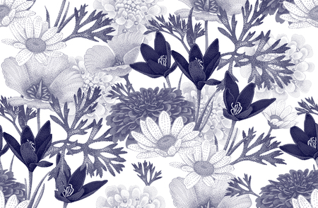 Vintage floral seamless pattern with wild flowers. Vector Illustration on a white background. Floral illustration in vintage style for decoration fabrics, textiles, paper, wallpaper.