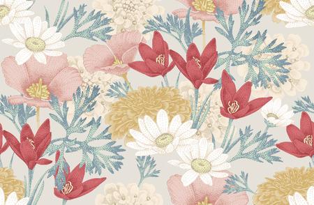야생 꽃과 빈티지 꽃 원활한 패턴입니다. 벡터 일러스트 레이 션. 장식 직물, 섬유, 종이, 벽지에 대 한 빈티지 스타일의 꽃 그림. 스톡 콘텐츠 - 55306912