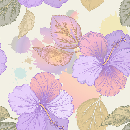 victorian wallpaper: Vector background with hibiscus, Chinese Rose flowers and watercolor stains. Seamless floral pattern. Illustration victorian style. Vintage. Designs for textiles, fabrics, curtains, paper, wallpaper. Illustration
