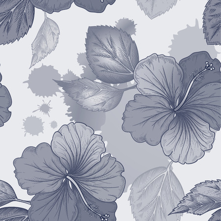Vector background with hibiscus, Chinese Rose flowers and watercolor stains. Seamless floral pattern. Illustration victorian style. Vintage. Designs for textiles, fabrics, wallpaper. Black and white.