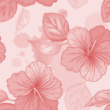 victorian style: Vector background with hibiscus, Chinese Rose flowers and watercolor stains. Seamless floral pattern. Illustration victorian style. Vintage. Designs for textiles, fabrics, curtains, paper, wallpaper. Illustration