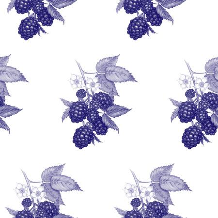 ベクターのシームレスな背景。果実と花を持つブラックベリーの枝。生地、織物、紙、壁紙、web のデザイン。ヴィンテージ。黒と白。