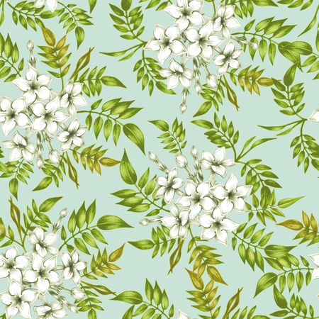 Vector seamless background. Jasmine flowers.Design for fabrics, textiles, paper, wallpaper, web. Vintage. Floral ornament. Stock Illustratie