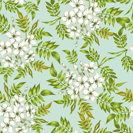 Vector nahtlose Hintergrund. Jasmin flowers.Design für Stoffe, Textilien, Papier, Tapete, Netz. Jahrgang. Blumenverzierung. Vektorgrafik