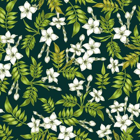 Vector nahtlose Hintergrund. Jasmin flowers.Design für Stoffe, Textilien, Papier, Tapete, Netz. Jahrgang. Blumenverzierung.