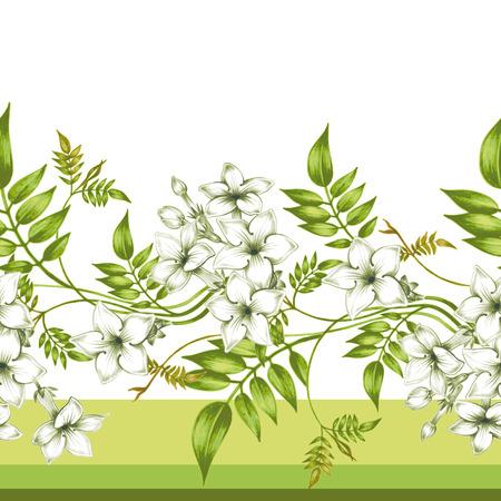 Vector seamless background. Jasmine flowers.Design for fabrics, textiles, paper, wallpaper, web. Vintage. Floral ornament. 일러스트