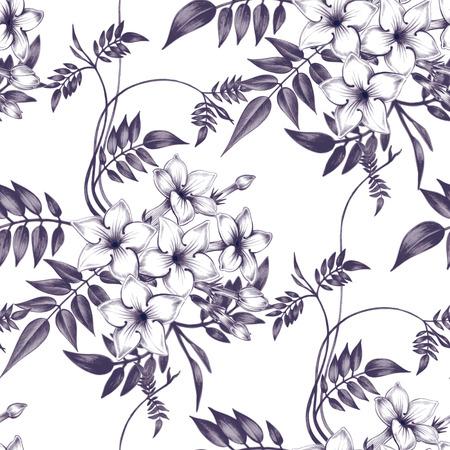 벡터 원활한 배경입니다. 재스민 꽃입니다. 직물, 섬유, 종이, 벽지, 웹 디자인. 포도 수확. 꽃 장식. 검정색과 흰색.