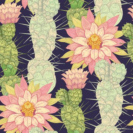 Illustration of flowers cactus on a white background. Vector seamless pattern. Floral ornament. Vintage. Designs for fabrics, textiles, paper, wallpaper, web, curtains, interior. Ilustração