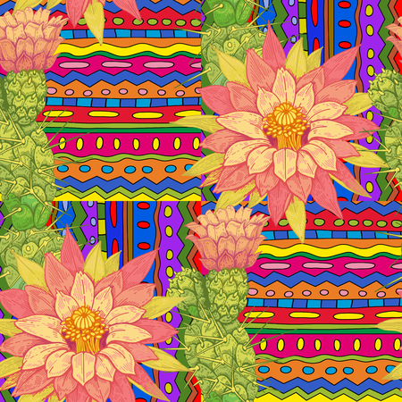 exotic plant: Illustration of cactus flowers on a geometric background. Vector seamless pattern. Floral ornament. Vintage. Designs for fabrics, textiles, paper, wallpaper, web, curtains, interior.