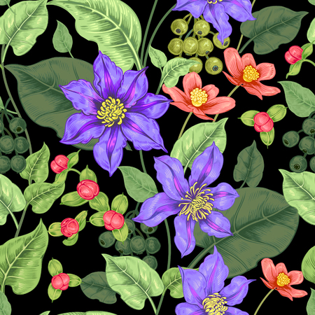 Floral seamless pattern in black background for fabrics, textiles, wallpaper, paper. Illustration