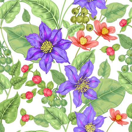 buttercup  decorative: Floral seamless pattern on a white background for fabrics, textiles, wallpaper, paper. Vector. Clematis flowers and ornamental berries. Design Victorian style. Illustration