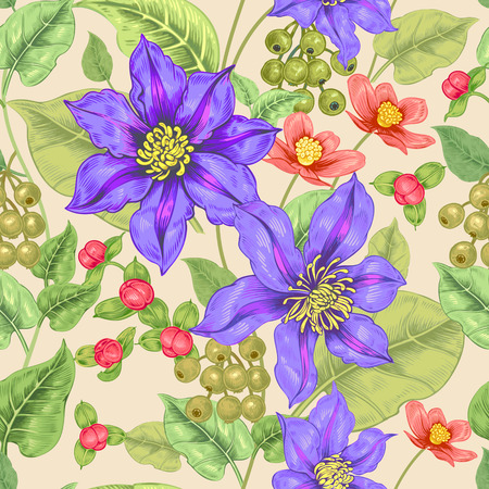 victorian wallpaper: Floral seamless pattern. Color background for fabrics, textiles, wallpaper, paper. Vector. Clematis flowers and ornamental berries. Design Victorian style.