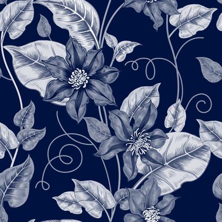 Floral nahtlose Muster. Schwarz-Weiß-Hintergrund für Stoffe, Textilien, Tapeten, Papier. Vektor. Clematis Blumen und Zier Beeren. Entwerfen im viktorianischen Stil. Standard-Bild - 55309243