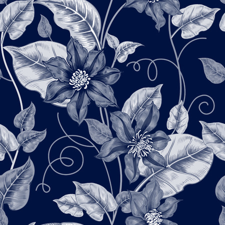 Floral seamless pattern. Black and white background for fabrics, textiles, wallpaper, paper. Vector. Clematis flowers and ornamental berries. Design Victorian style. Illustration