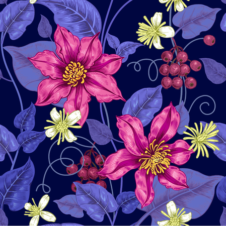 plant design: Floral seamless pattern on a black background for fabrics, textiles, wallpaper, paper. Vector. Clematis flowers and ornamental berries. Design Victorian style.