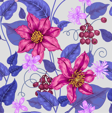 Floral seamless pattern. Color background for fabrics, textiles, wallpaper, paper. Vector. Clematis flowers and ornamental berries. Design Victorian style.