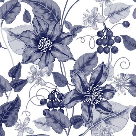 victorian wallpaper: Floral seamless pattern on a white background for fabrics, textiles, wallpaper, paper. Vector. Black clematis flowers and ornamental berries. Design Victorian style.