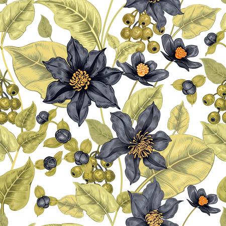 직물, 섬유, 벽지, 종이 흰색 배경에 꽃 원활한 패턴입니다. 벡터. 클레 마티스 꽃과 장식 열매입니다. 빅토리아 스타일을 디자인합니다.
