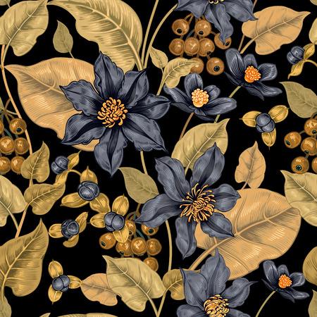 직물, 섬유, 벽지, 종이 검정색 배경에 꽃 원활한 패턴입니다. 벡터. 클레 마티스 꽃과 장식 열매입니다. 빅토리아 스타일을 디자인합니다.