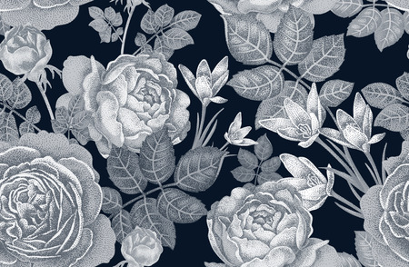 originally: Vintage vector seamless pattern. Black and white illustration with roses and spring flowers. Floral design.