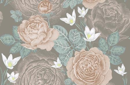 ビンテージ ベクトルのシームレスなパターン。バラと春の花のイラスト。花柄のデザイン。