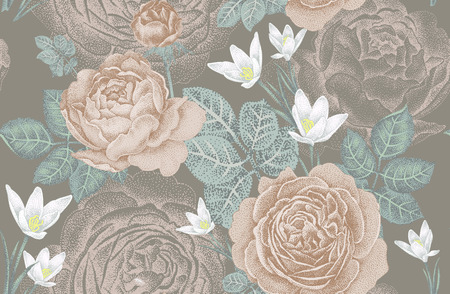 Vintage vector seamless pattern. Illustration with roses and spring flowers. Floral design. Ilustrace