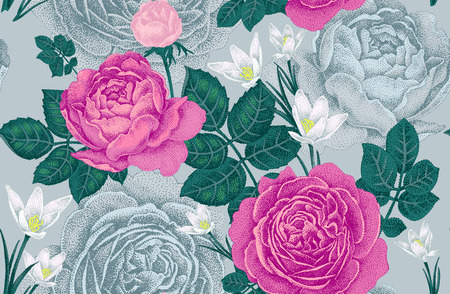 Vintage vector seamless pattern. Illustration with roses and spring flowers. Floral design. Reklamní fotografie - 55309277