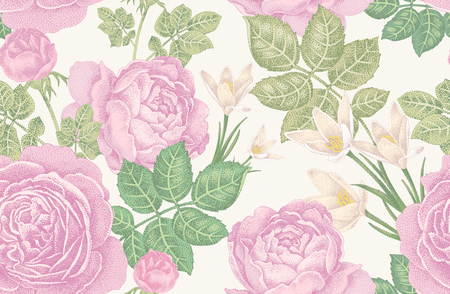 vintage floral pattern: Vintage vector seamless pattern. Illustration with roses and spring flowers on a white background. Floral design. Illustration