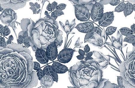 Vintage vector nahtlose Muster. Schwarz-Weiß-Darstellung mit Rosen und Frühlingsblumen. Blumendesign. Illustration