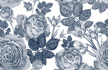 floral decoration: Vintage vector seamless pattern. Black and white illustration with roses and spring flowers. Floral design.