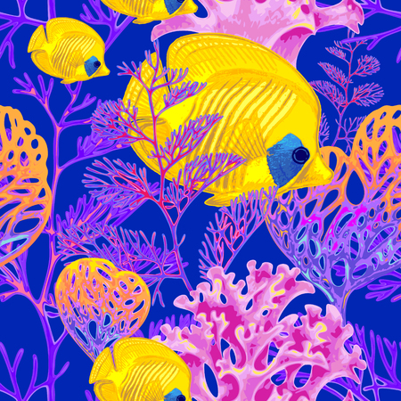 seabed: Illustration of the seabed with exotic fish and corals. Vector. Seamless background for textile, fabric, paper, wallpaper.