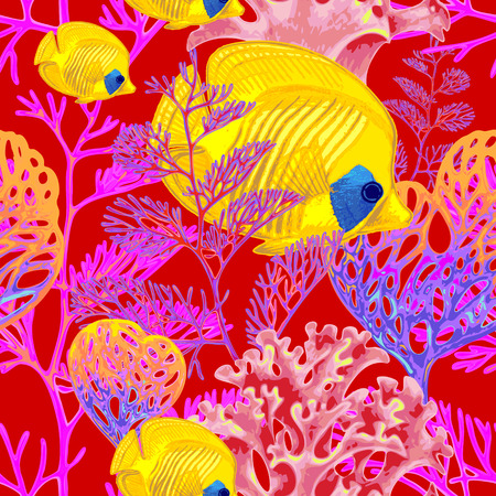 exotic fish: Illustration of the seabed with exotic fish and corals. Vector. Seamless background for textile, fabric, paper, wallpaper.