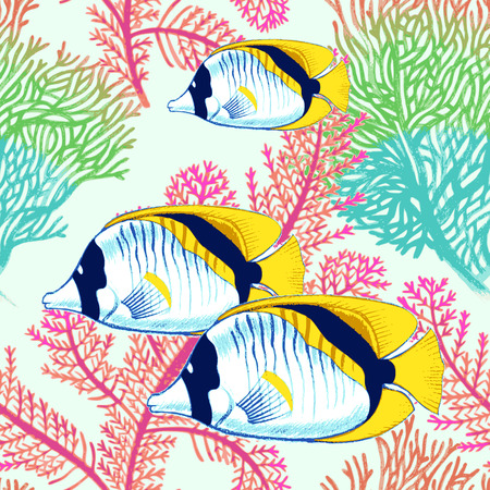 Vector illustration of exotic fish and corals. Seamless background. Design paper, wallpaper, packaging, textiles, Web. 向量圖像