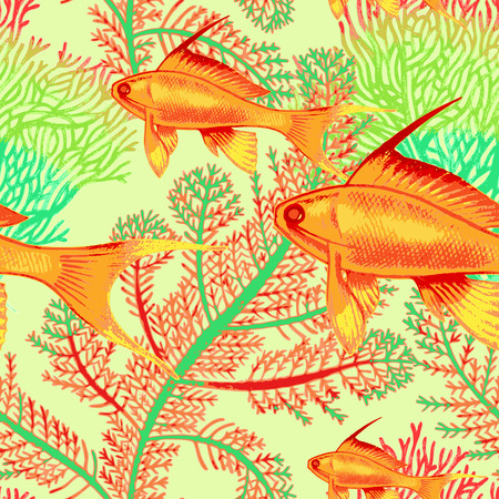 exotic fish: Vector illustration of exotic fish and corals. Seamless background. Design paper, wallpaper, packaging, textiles, Web. Illustration
