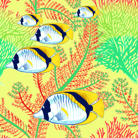spearfishing: Vector illustration of exotic fish and corals. Seamless background. Design paper, wallpaper, packaging, textiles, Web. Illustration