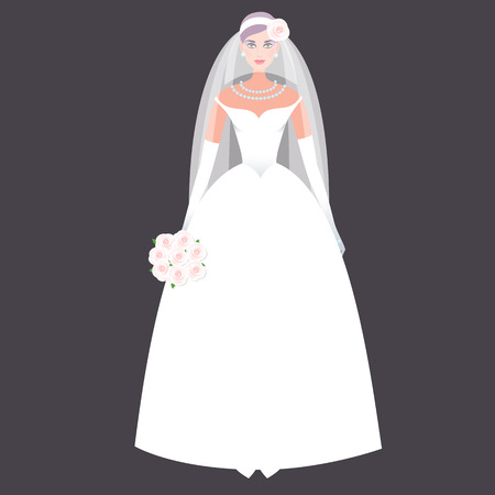 wedding dress: Cute girl in a wedding dress. Holiday vector illustration. Fashion white bride dress on a black background. The concept of the modern wedding dress and accessories. Illustration