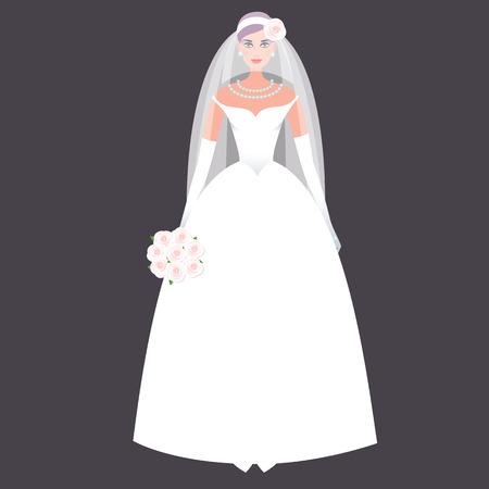 Fille mignonne dans une robe de mariée. vecteur vacances illustration. Mode robe de mariée blanche sur un fond noir. Le concept de la robe et les accessoires de mariage moderne. Vecteurs