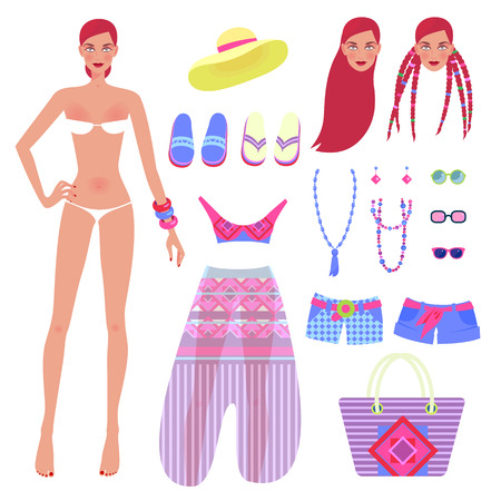 Sweet girl and set of beachwear and accessories. Vector illustration of a set designer to create different images on the theme of summer clothes.