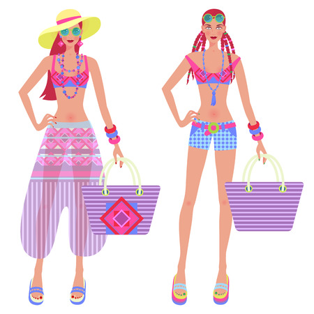 Two cute girls in fashionably beach clothes and accessories - handbags, sun hat, sunglasses. Vector illustration of female figures isolated on white background. Vettoriali