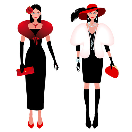 A set of cute fashionable girls on the evening of luxury glamor clothes. The stylish little black dress, hat, feather, clutch bag, pearls. Vector illustration of people isolated on white background. Vettoriali