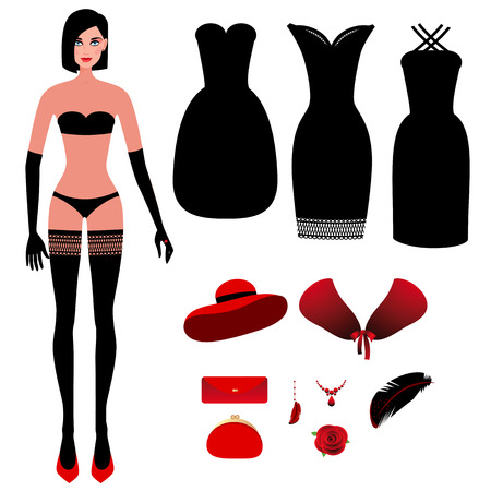 Sweet girl in underwear and a set of evening dresses, evening dresses, hat, clutch bag, rose flower, fur cape and jewelry. Vector illustration constructor different images on theme of fashion couture.